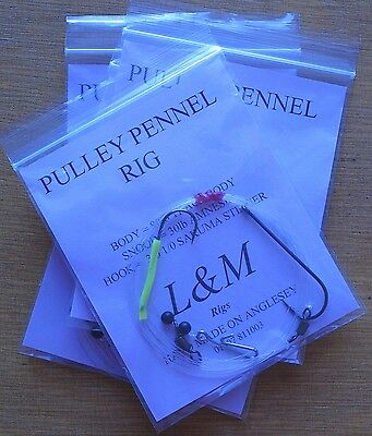 4 x PULLY PENNEL CLIP DOWN L&M SEA FISHING RIG 80lb BODY 3/0 1/0 STINGER HOOKS
