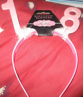 PINK AGE 18 HEAD BOPPERS HEAD BAND PARTY BIRTHDAY FAVOUR 18TH PARTY GIFT