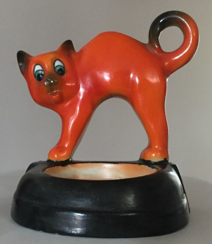Halloween CAT c1920s Porcelain Candle Holder / Desk Pen Set? ~Germany ~Xcellent!