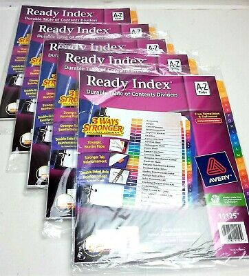 Avery Ready Index A-z Tabs Lot 5 Packs 11125 Portrait Landscape Table Contents