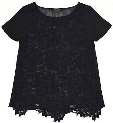 TWIN-SET / Bluse Oberteil Spitze Semi-transparent Top Shirt Topje Kurzarm Gr S-M