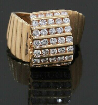 Designer signed vintage heavy 14K YG 1.05CT VS2/G diamond cluster ring size 7