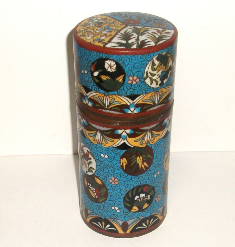 RARE OLD JAPANESE CLOISONNE ENAMEL LARGE CANISTER CADDY JAR BOX