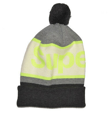 SUPERDRY Knit BOBBLE BEANIE HAT CAP Grey Yellow White SPELLOUT POM Unisex