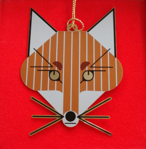 Charlie/ Charley Harper - Brass Christmas Ornament - FOX - fun animal art