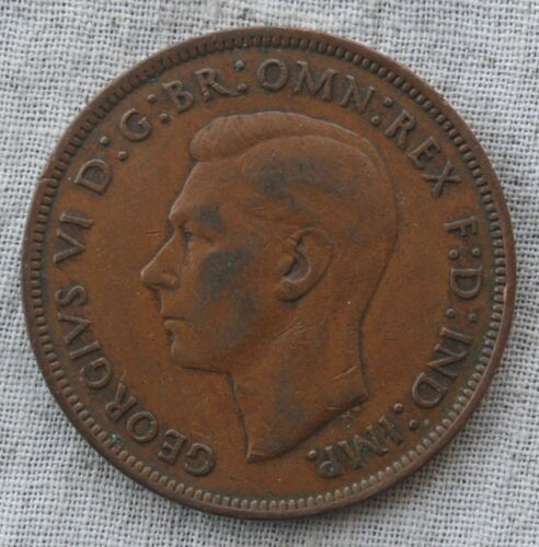 1945 United Kingdom Great Britain One Penny Coin