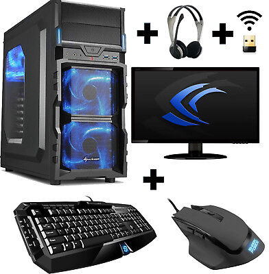 "Gamer PC Komplett-Set A10 7700K 4x 3,8 Ghz Radeon R7 8GB 1TB 23,6"" WLAN Win10"