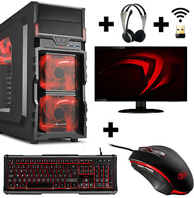 Gamer PC Komplett-Set AMD 9600 4x 3,4Ghz Radeon R7 8GB 1TB Gaming Win10 Wlan