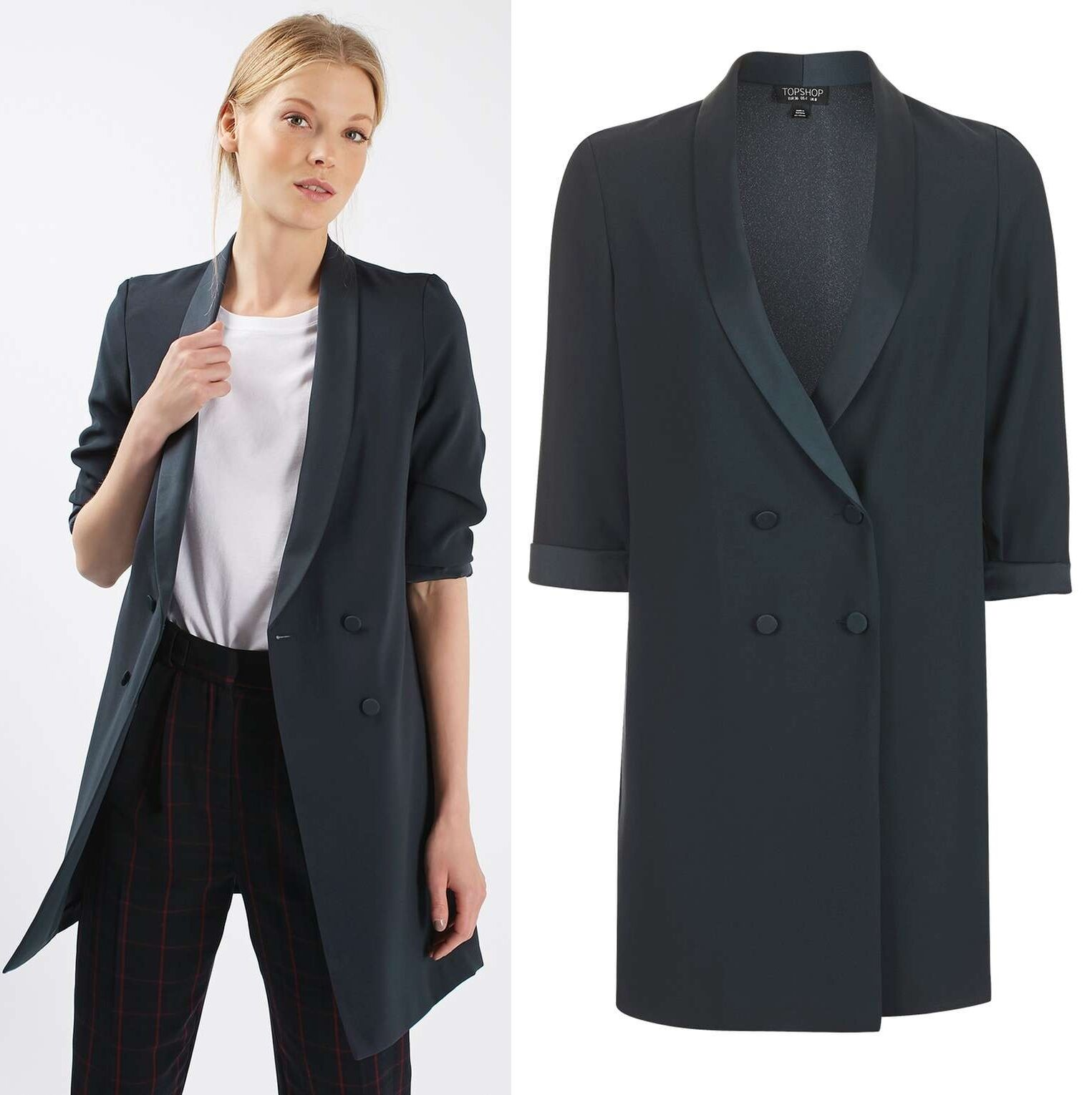 Details about TOPSHOP Soft Tailored Blazer Jacket Dress in Navy Blue