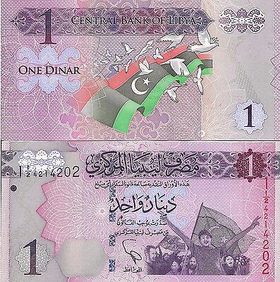 Libya P76  1 Dinar  Cheering Crowd And Flag   Flag And Doves  2013   6Cv Uvimage