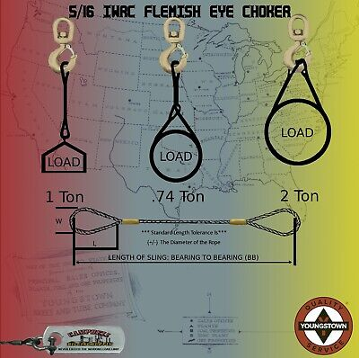 Choker Sling Wire Rope Steel Cable 516 X 11 Iwrc Flemish Eye Lifting Rigging