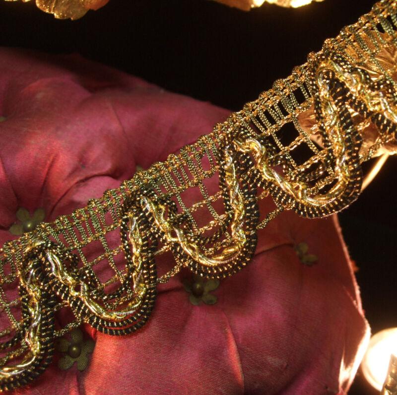 "Antique vtg Heavy Gold Silver Bullion Metal Trim Net Lace Lampshade 1-1/4"" wide"