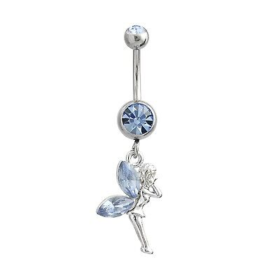 Fairy Light Blue Belly Ring Dangle Navel Ring CZ Body Jewelry Fun Cute Pixie Fairy Belly Ring Body Jewelry