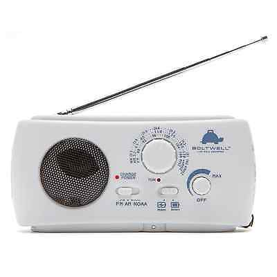 Kaito Ka332w White Portable Solar Crank Am Fm Weather Radio With Flashlight