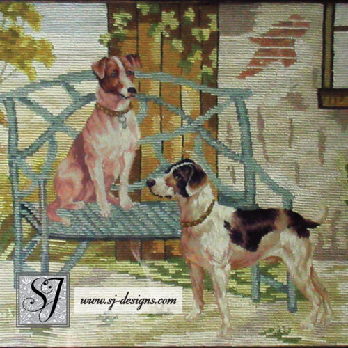 SALE! c1860s Berlin work needlepoint hunting dogs framed antique tapestry