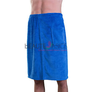 Mens Plush Fleece Terry Spa Wrap, Navy Blue - #AG09 x1