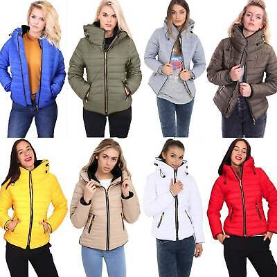 Padded Womens Ladies Quilted Puffer Bubble Collar Daj Warm Thick Jacket Coat Lady Warm Jacket Coat