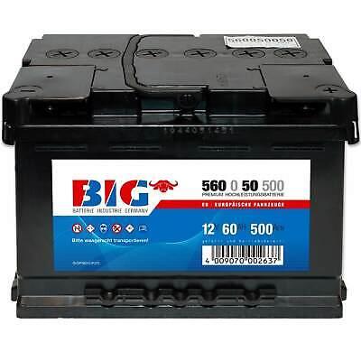 Autobatterie 12V 60Ah BIG Starterbatterie ersetzt 43Ah 44Ah 45Ah 50Ah 61Ah 62Ah