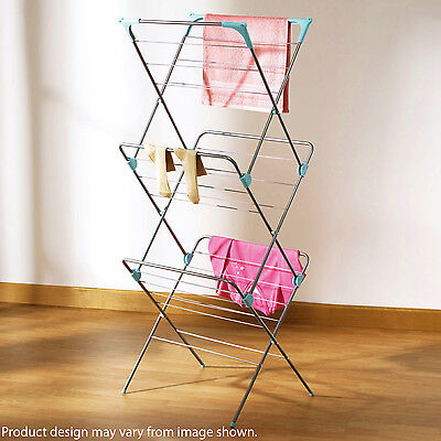 Clothes Airer 3 Tier Laundry Dryer Concertina Indoor Outdoor Patio Towel Horse