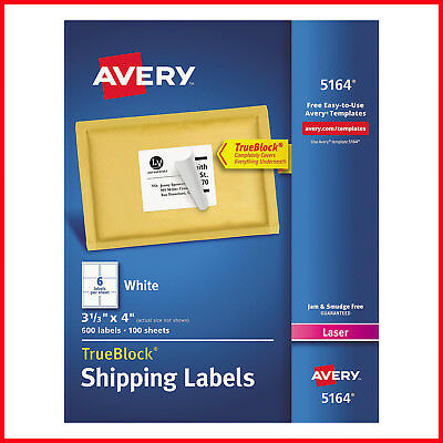 No Tax Avery 5164 - Laser Shipping Labels 3-13 X 4 White - 600 Labels