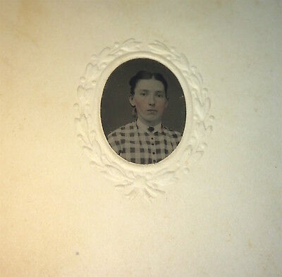 Antique Victorian American Fashion Lady, Rosy Cheeks! C.1860's Tintype Photo! US