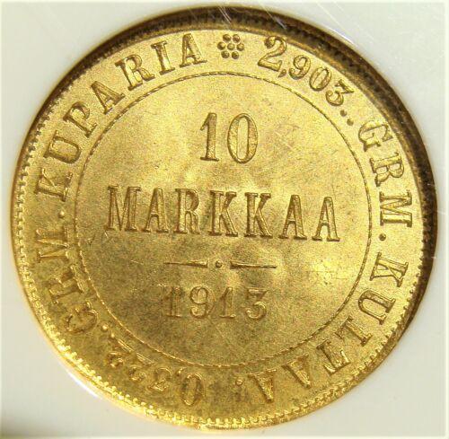 Finland: 1913-S Gold 10 Markkaa KM-8.2 NGC MS-66.