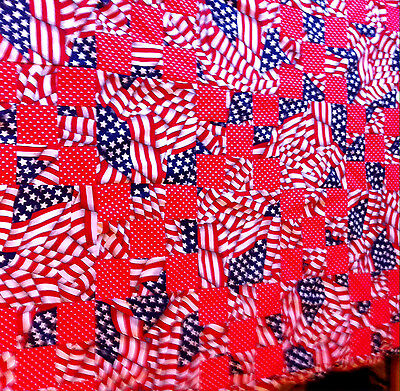 **NEW** ~U.S.A. FLAGS~IRISH CHAIN~ QUILT TOP~ 45 1/2 X 58 1/2 (RED)
