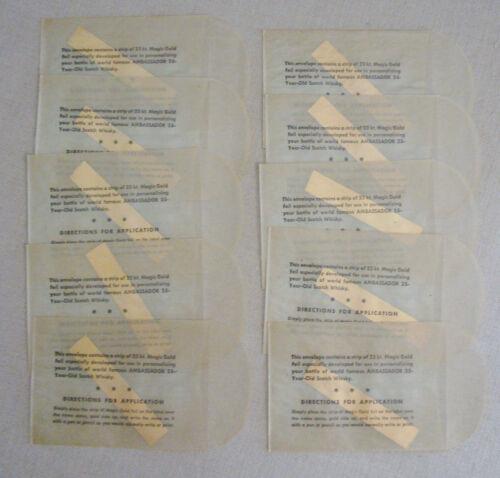 "10 Vintage 23kt Magic Gold Personalizing Strips Liquor Bottles NIP 1/2"" x 3"" ea."