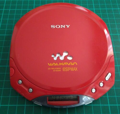 SONY D-E220 CD WALKMAN ESPMAX PORTABLE CD PLAYER 2 AA RED TESTED & WORKING