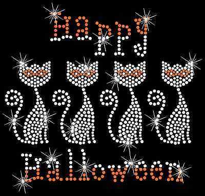 Happy Halloween Black Cat Cute Spooky Hotfix Iron On Rhinestone Transfer - Cute Happy Halloween