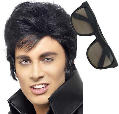 Elvis Presley Schwarz Perücken und Sonnenbrille 50er 60er - Elvis Presley Kostüme Perücke