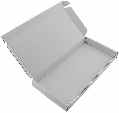 50 x WHITE DL SIZE BOX LARGE LETTER CARDBOARD SHIPPING PIP 23.5 x 11.5 x 2.4cm