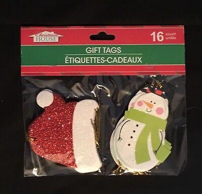 BRAND NEW!!!16 CHRISTMAS HANG / GIFT TAGS SANTA HAT/SNOWMAN BEAUTIFUL & (Santa Gift Tags)