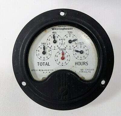 Vintage Antique Westinghouse Electric And Mfg. Co Hour Meter Gauge Steampunk