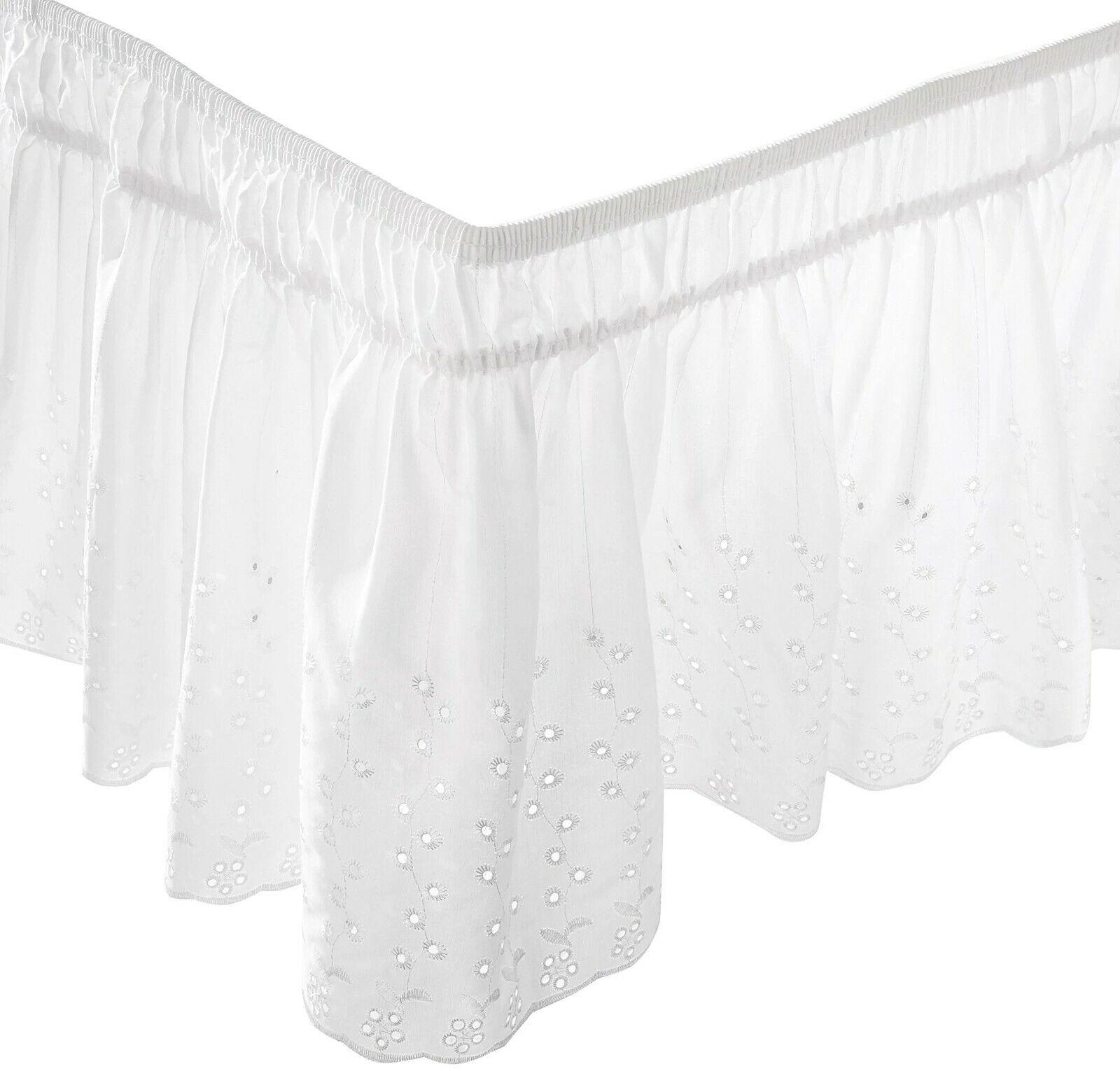 Eyelet WrapAround Bed Skirt 14″ Twin – White poly/cotton Bedding Wrap Around NEW Bed Skirts