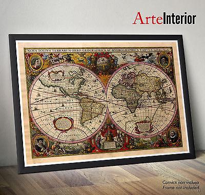 Wall Poster - Antica Mappa del Mondo (1641) Henricus Hondius - Stampa FINE ART