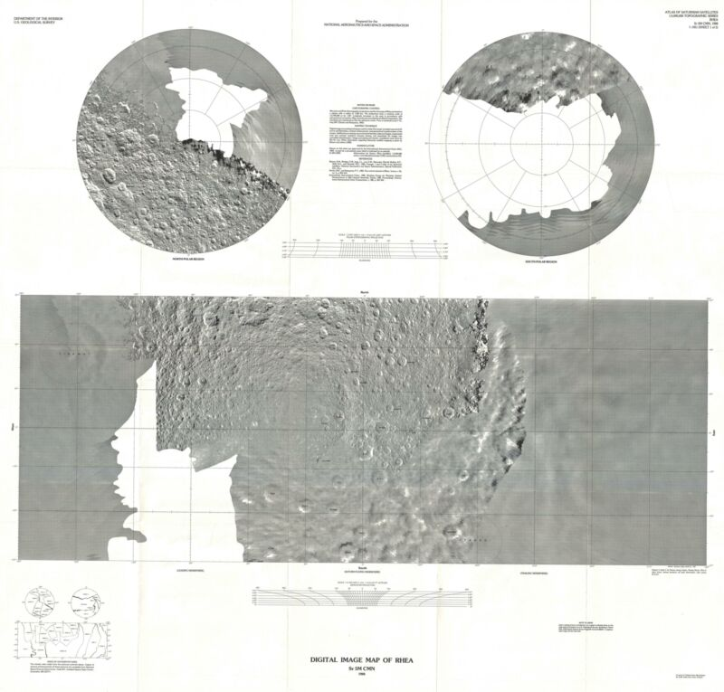 1988 U.S. Geological Survey Image Map of Rhea, Moon of Saturn