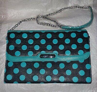NEW! Betsey Johnson Spot On Large Clutch Crossbody Chain Purse Bag - Polka Dot