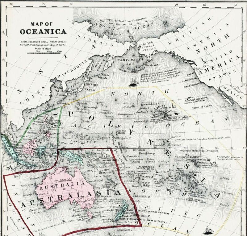 1853 Oceanica Map Australia Hawaii New Zealand Philippines Borneo ORIGINAL