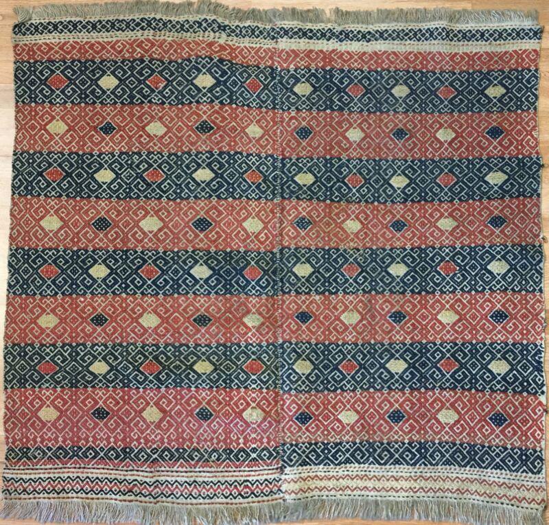 Valuable Verneh - 1900s Antique Sumak Rug - Tribal Flatweave Carpet 4.1 X 4.6 Ft