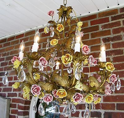Antique XL French Italian Porcelain Rose Bud Crystal Gilt Tole Chandelier