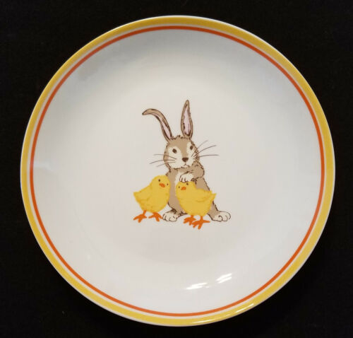 """World Market EASTER PLATE 8"""" Bunny Rabbit holding with Baby Chicks"""