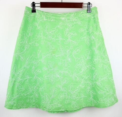 TALBOTS Size 10p  LIME GREEN & WHITE EMBROIDERED FLORAL A-LINE SKIRT Knee Length