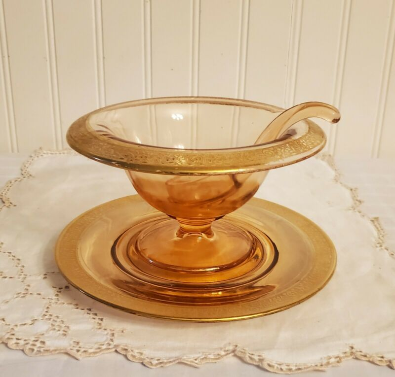 VTG 3 Piece Depression Glass Rambler Rose Mayonnaise Set Bowl, Underplate Ladle