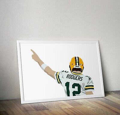 Aaron Rodgers, Green Bay Packers, Poster, Print, Wall Art, Home Decor, Gift ()
