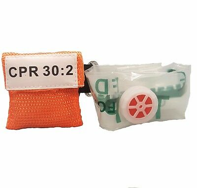 100 Orange Cpr Facial Shield Mask In Pocket Keychain Imprinted Cpr 302
