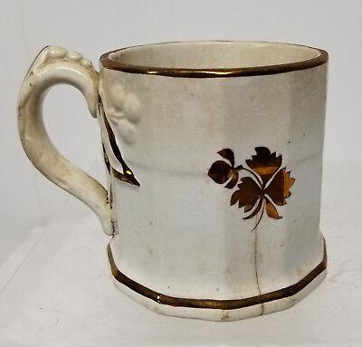 Antique Early Anthony Shaw Stone China Luster Ware Mug Burslem Ironstone As Is