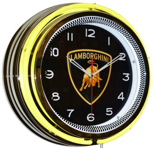 "19"" Lamborghini Yellow Double Neon Clock Garage Man Cave Decor"