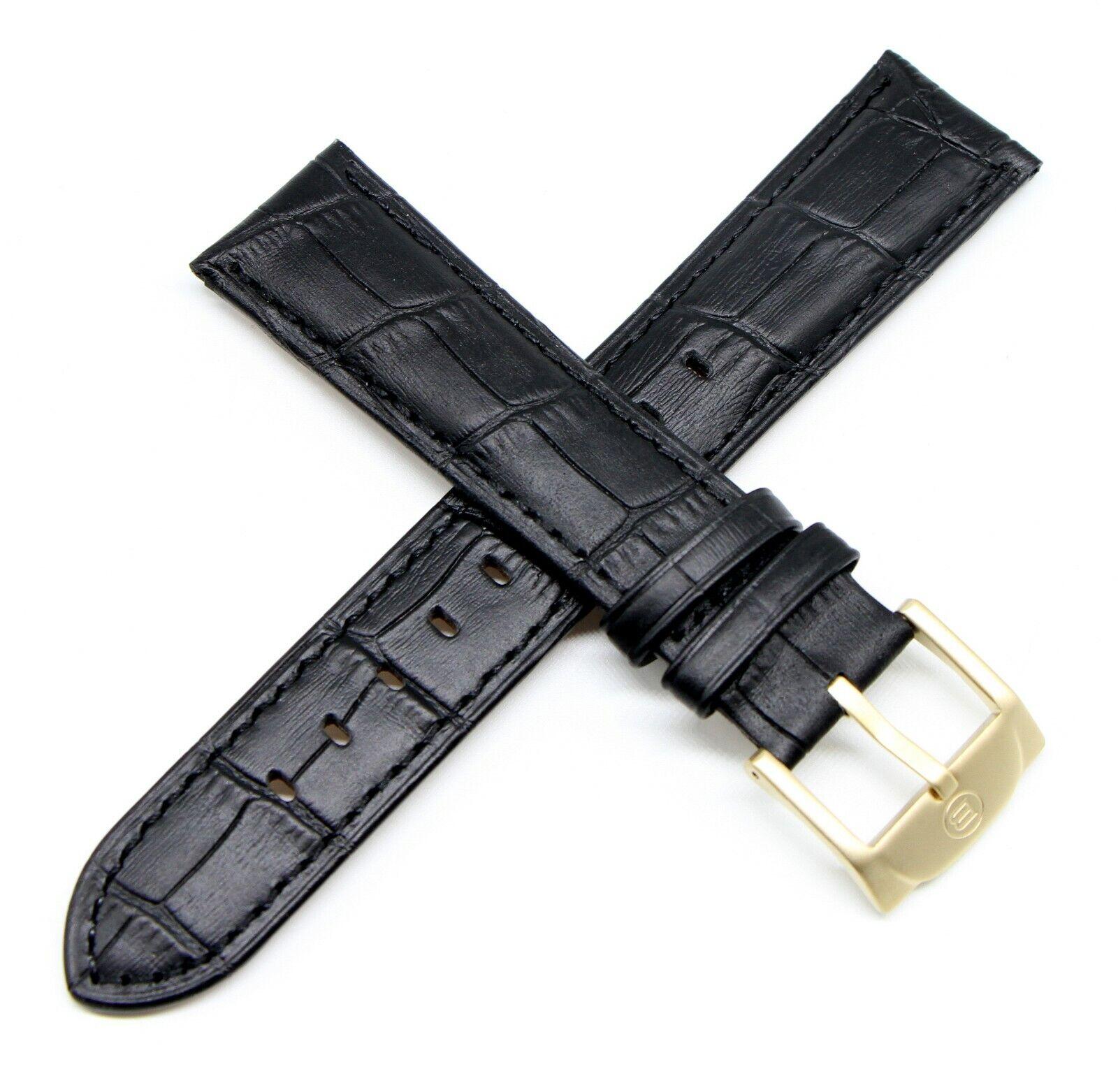 Ben & Sons Uhrenarmband 22MM Alligatorprägung Echtleder Schwarz für Modell Marshall