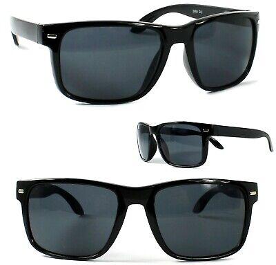 Herren Sonnenbrille Rechteckig Schwarz Glänzend Gläser Getönt Brillenbeutel A6